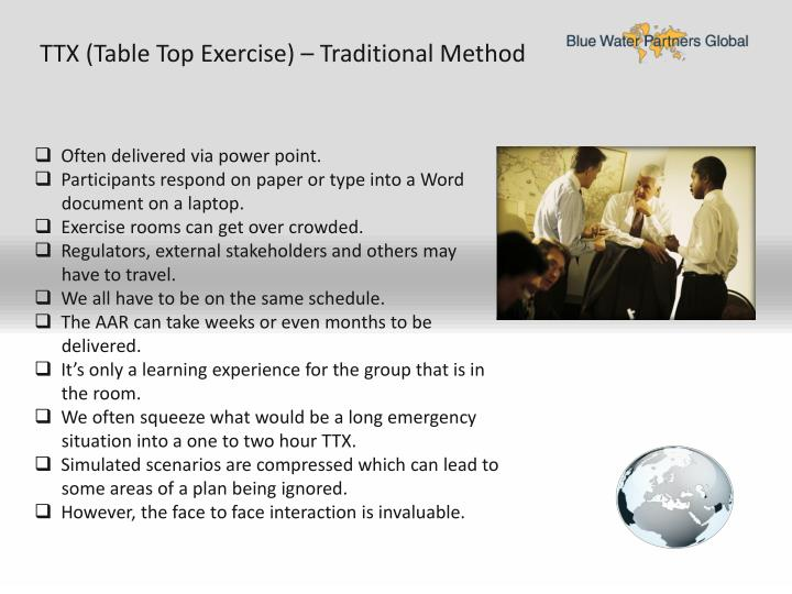 TTX (Table Top Exercise) – Traditional Method