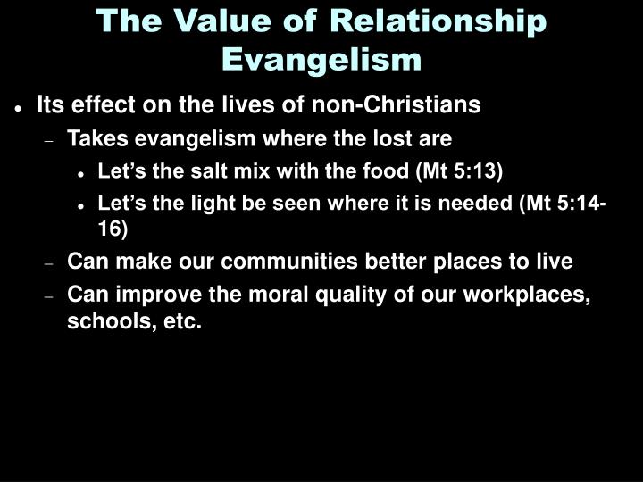 The Value of Relationship Evangelism