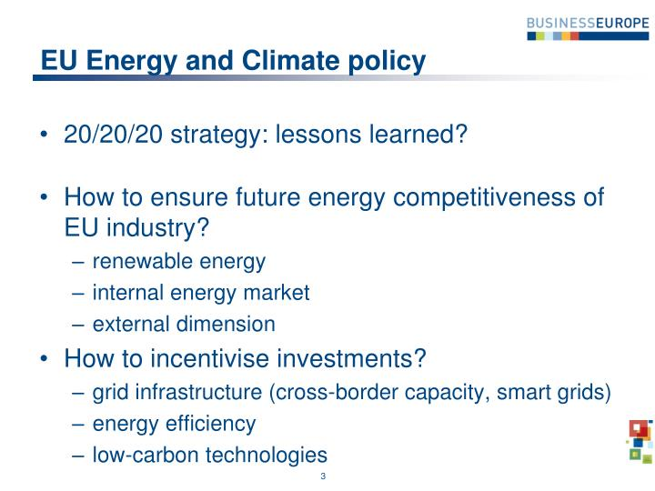 Eu energy and climate policy