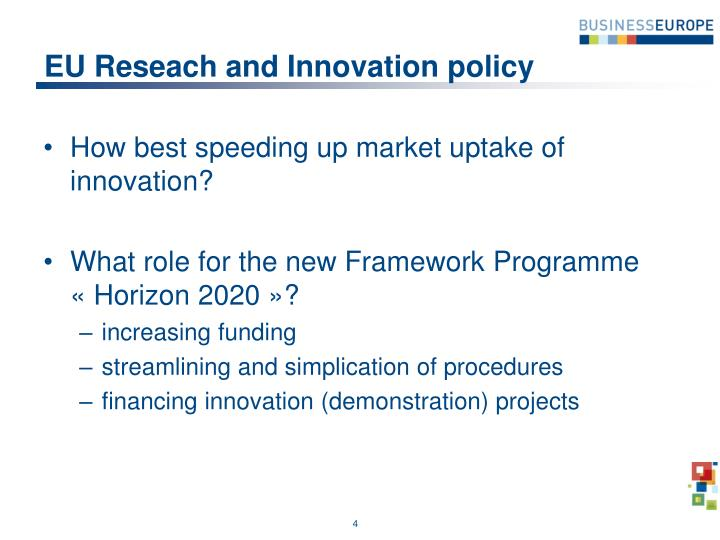 EU Reseach and Innovation policy