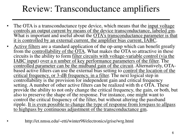 Review: Transconductance amplifiers