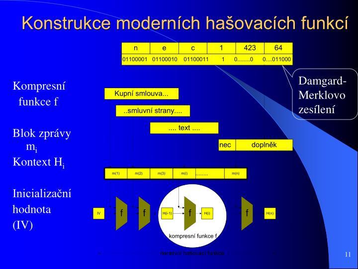 Konstrukce moderních hašovacích funkcí