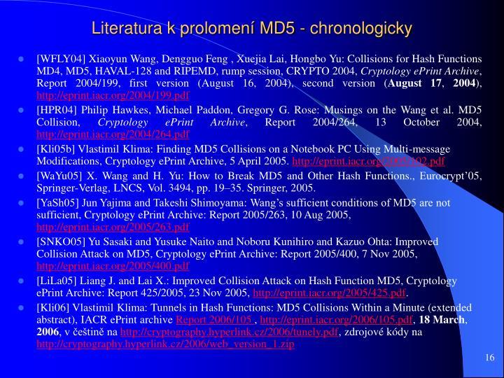 Literatura k prolomení MD5 - chronologicky