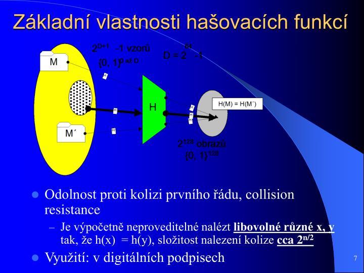Základní vlastnosti hašovacích funkcí