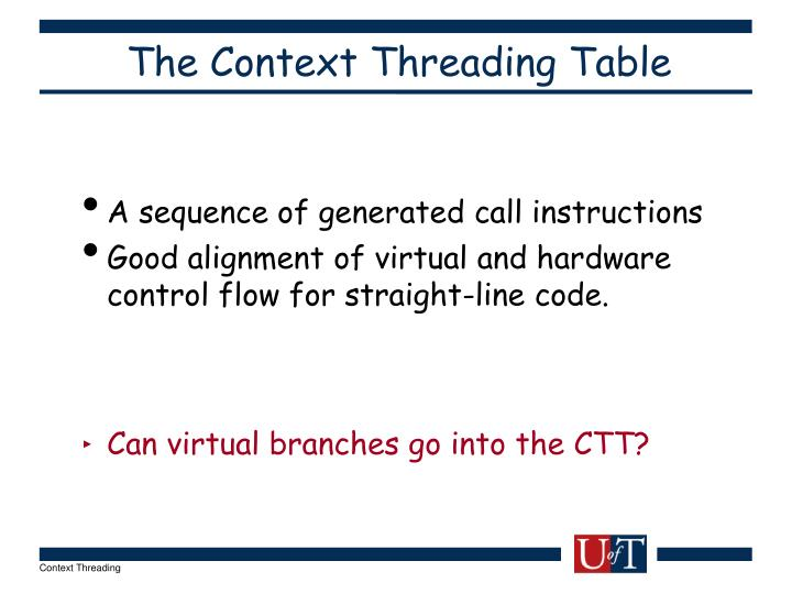 The Context Threading Table