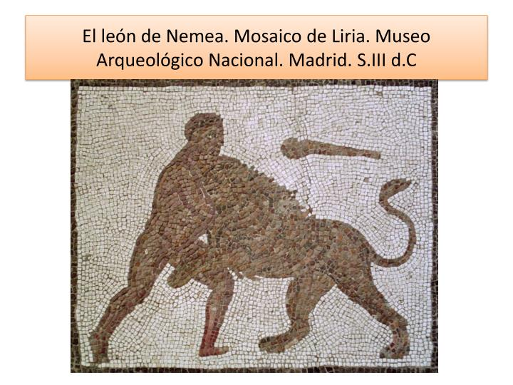 El león de Nemea. Mosaico de Liria. Museo Arqueológico Nacional. Madrid. S.III d.C