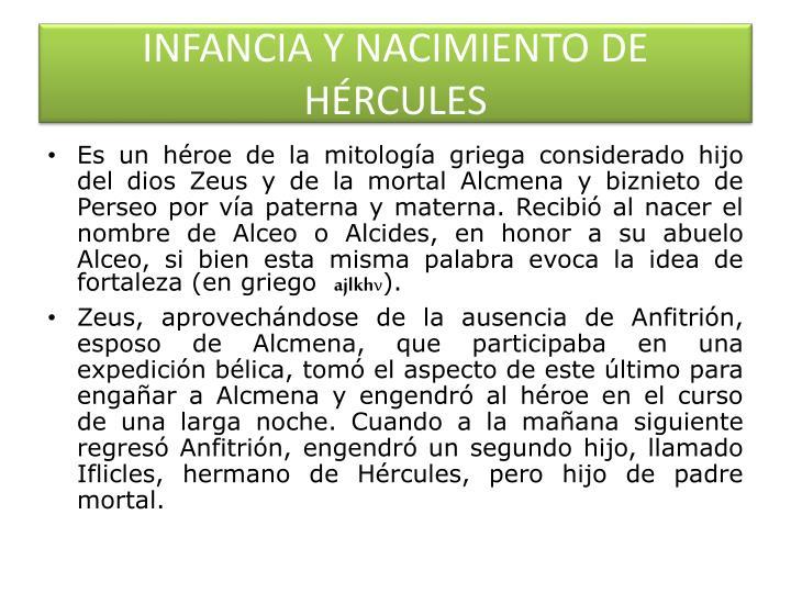INFANCIA Y NACIMIENTO DE HÉRCULES