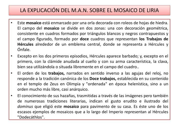 LA EXPLICACIÓN DEL M.A.N. SOBRE EL MOSAICO DE LIRIA