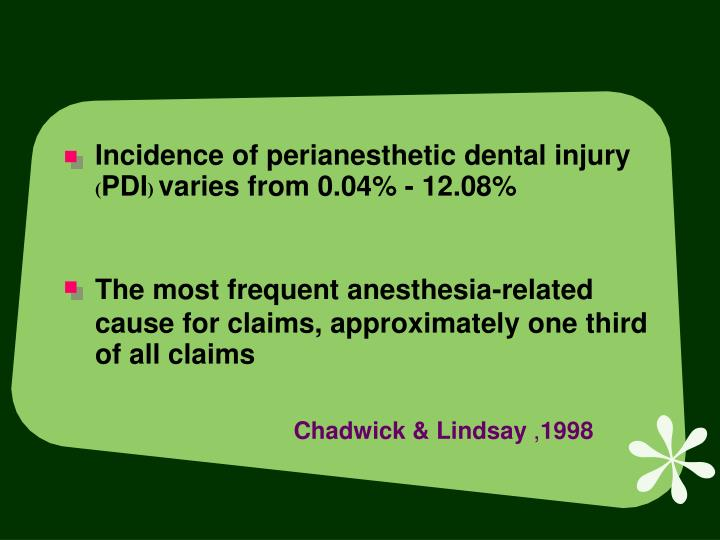 Incidence of perianesthetic dental injury