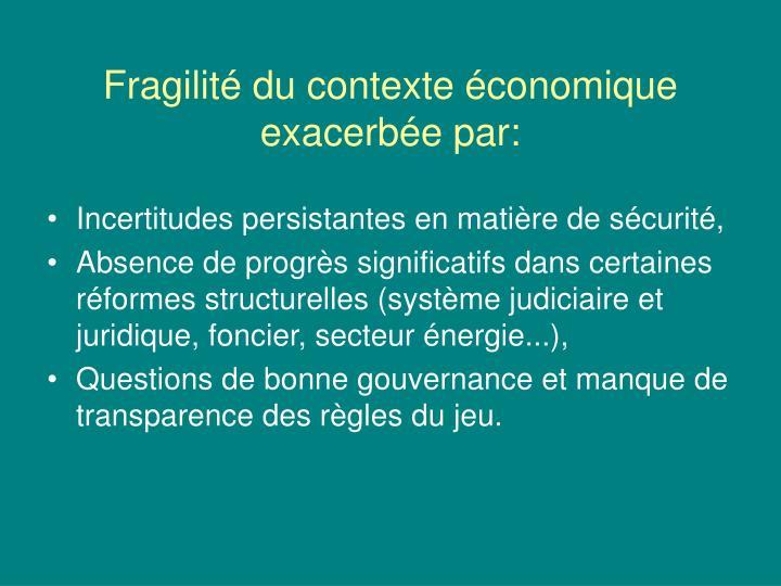 Fragilité du contexte économique exacerbée par: