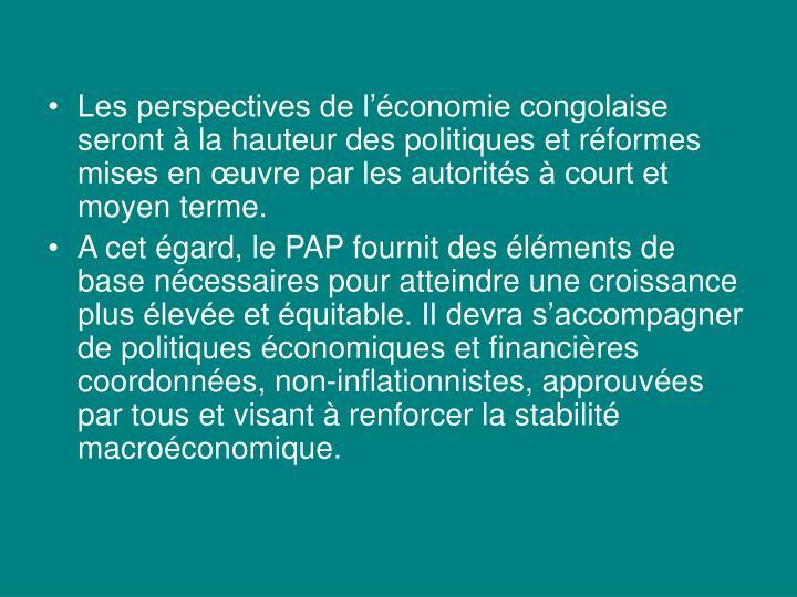 Les perspectives de l'économie congolaise seront à la hauteur des politiques et réformes mises en œuvre par les autorités à court et moyen terme.