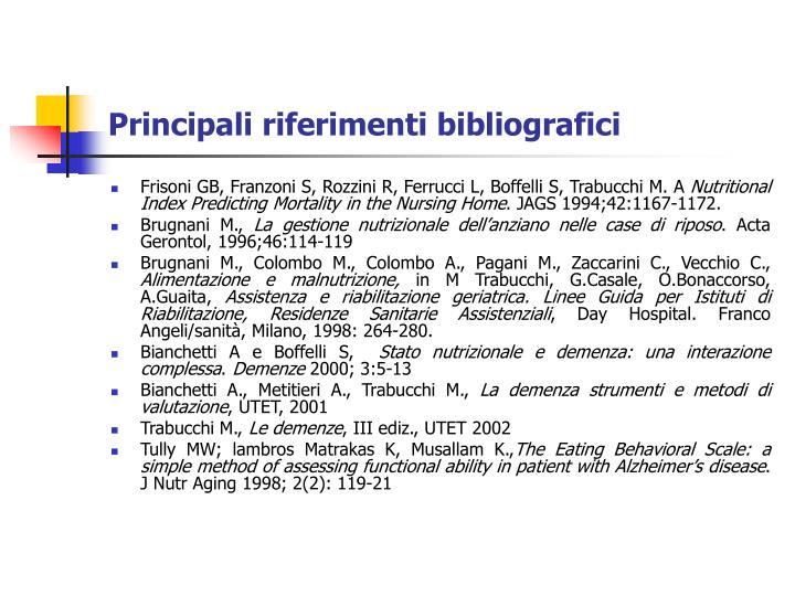Principali riferimenti bibliografici