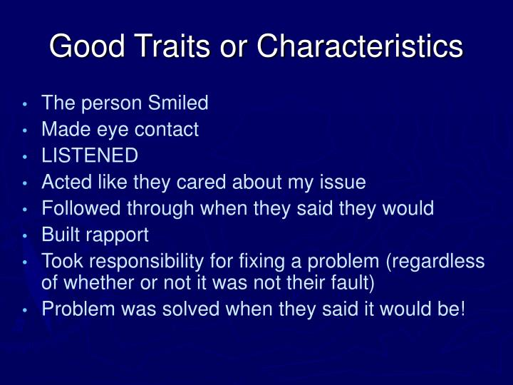 Good Traits or Characteristics