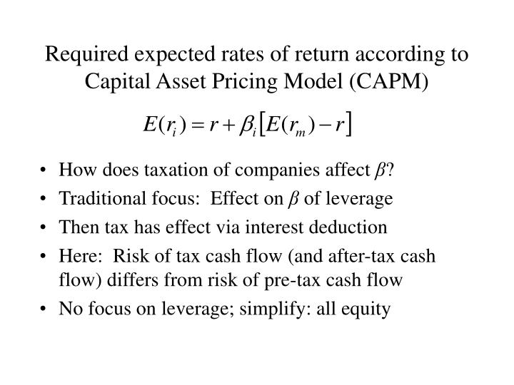 Required expected rates of return according to capital asset pricing model capm