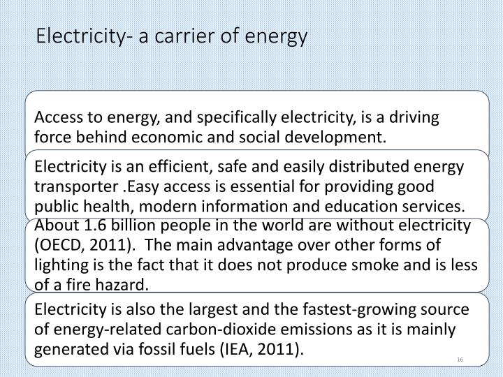 Electricity- a carrier of energy