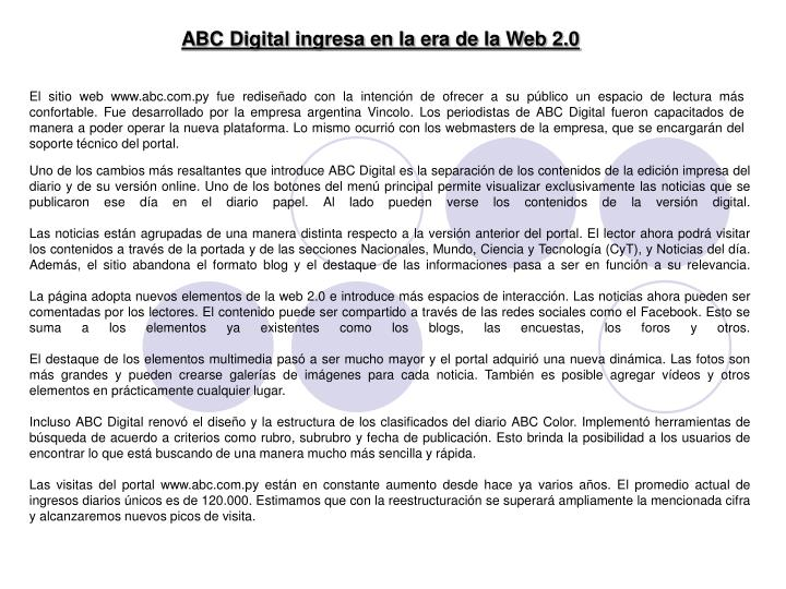 ABC Digital ingresa en la era de la Web 2.0