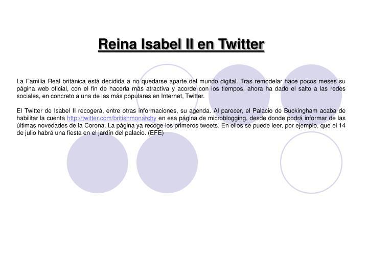 Reina Isabel II en Twitter
