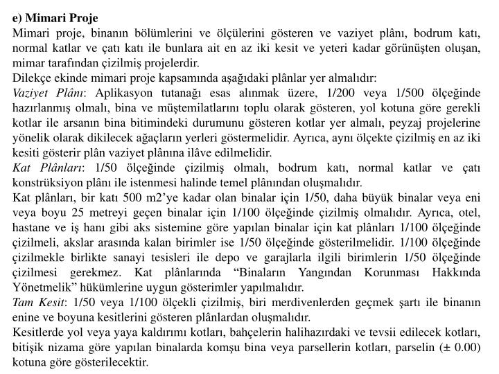 e) Mimari Proje