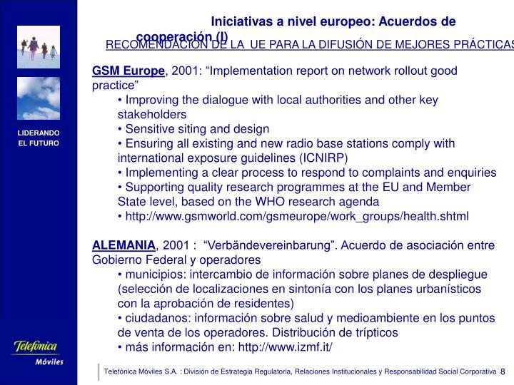 Iniciativas a nivel europeo: Acuerdos de cooperación (I)