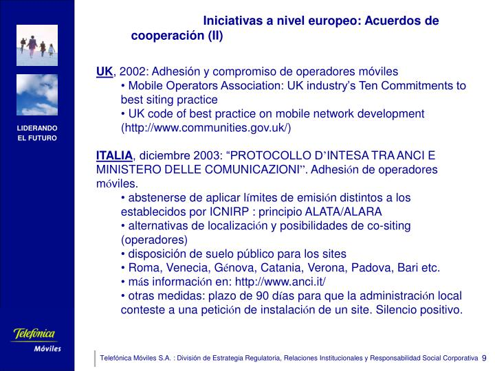Iniciativas a nivel europeo: Acuerdos de cooperación (II)
