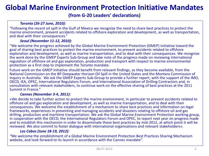 Global marine environment protection initiative mandates from g 20 leaders declarations