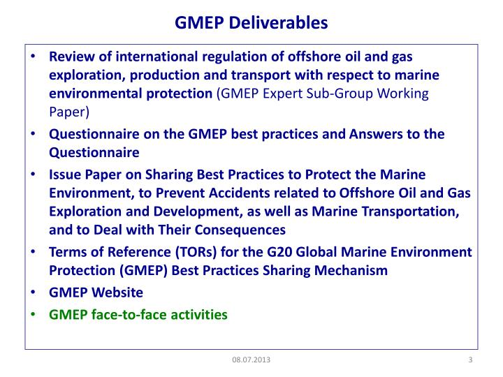 Gmep deliverables