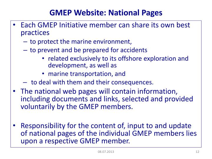 GMEP Website: National Pages