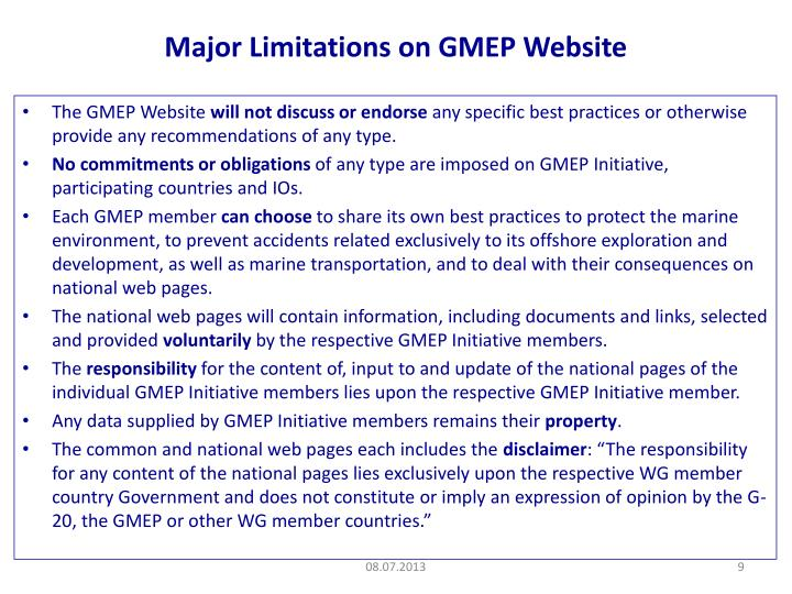 Major Limitations on GMEP Website