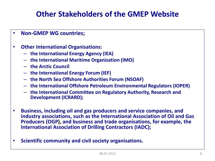 Other Stakeholders of the GMEP Website