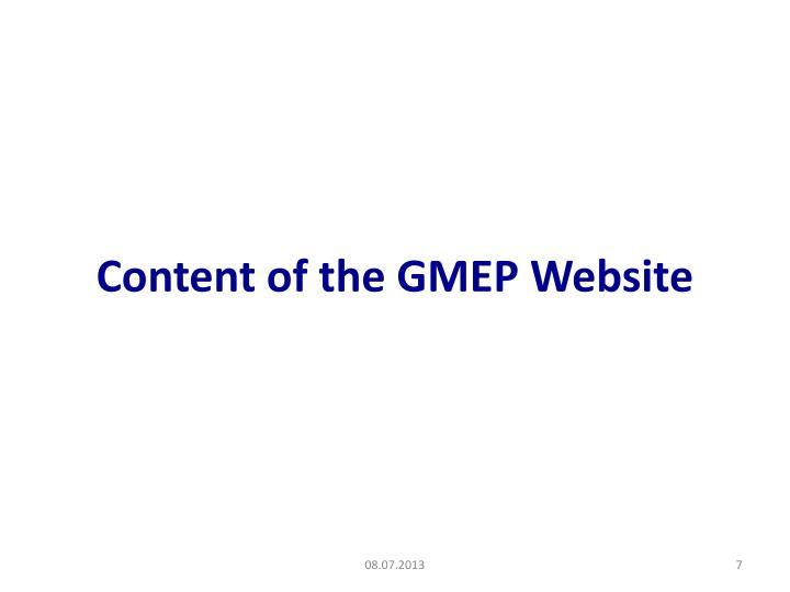 Content of the GMEP Website
