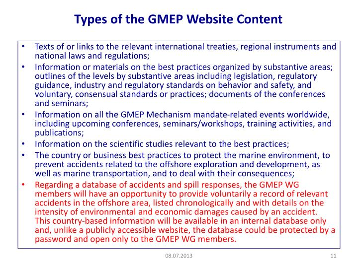 Types of the GMEP Website Content