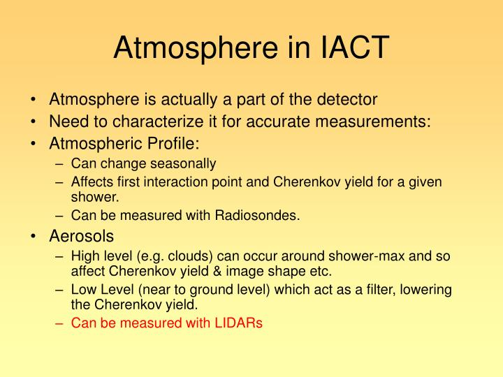 Atmosphere in IACT
