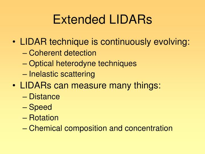 Extended LIDARs