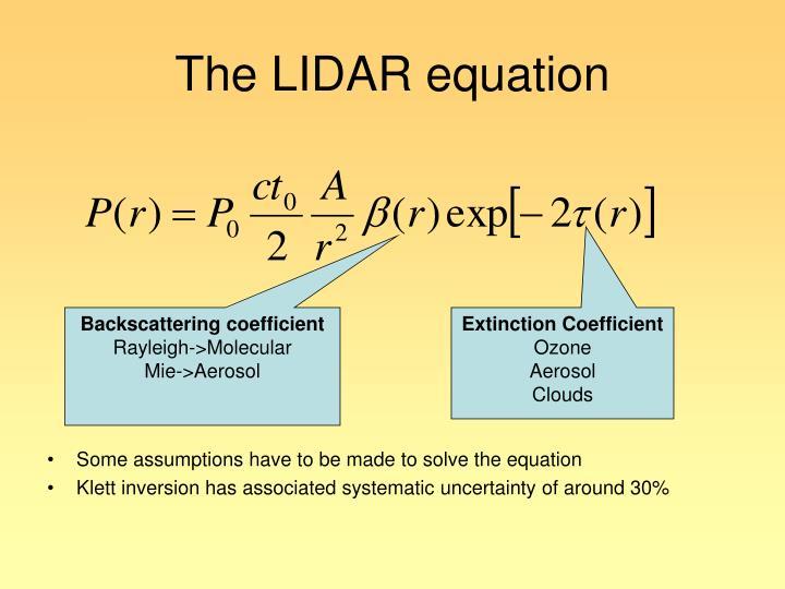 The LIDAR equation