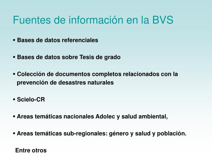 Fuentes de información en la BVS
