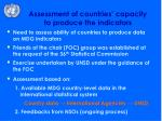 assessment of countries capacity to produce the indicators