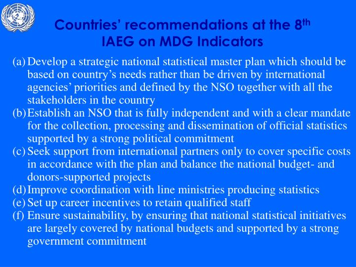 Countries' recommendations at the 8