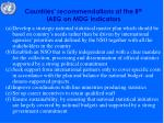 countries recommendations at the 8 th iaeg on mdg indicators