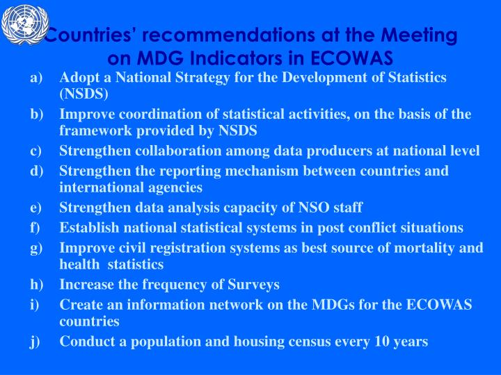 Countries' recommendations at the Meeting on MDG Indicators in ECOWAS