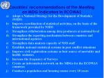 countries recommendations at the meeting on mdg indicators in ecowas
