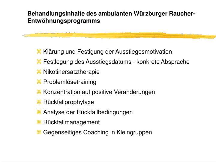 Behandlungsinhalte des ambulanten Würzburger Raucher-Entwöhnungsprogramms