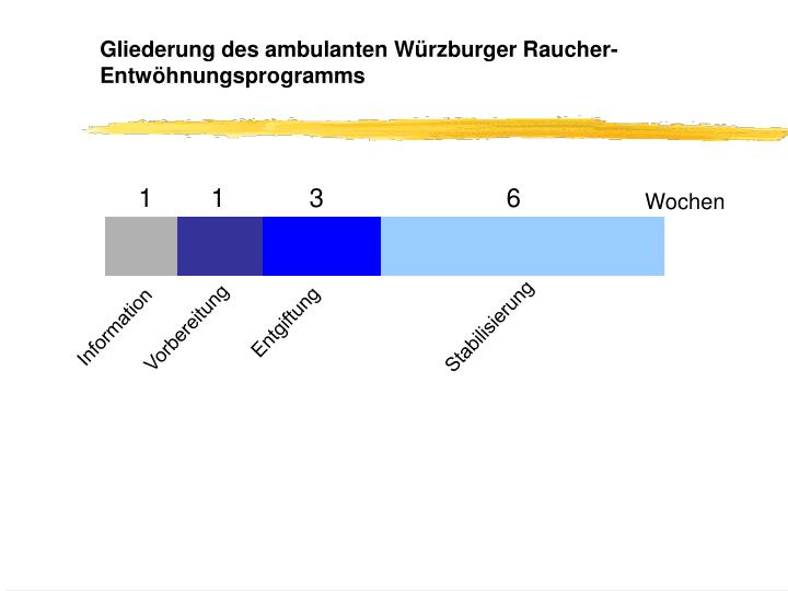 Gliederung des ambulanten Würzburger Raucher-Entwöhnungsprogramms