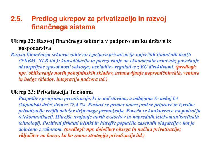 2.5. Predlog ukrepov za privatizacijo in razvoj finančnega sistema