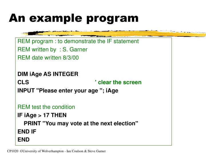 An example program