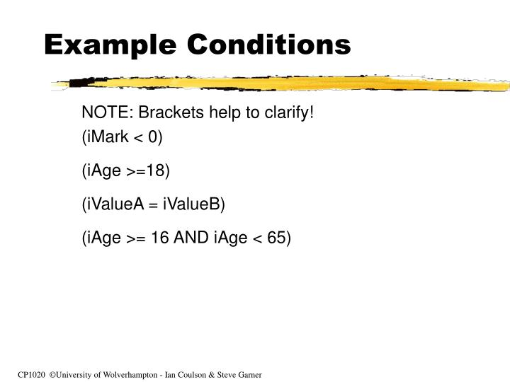 Example Conditions