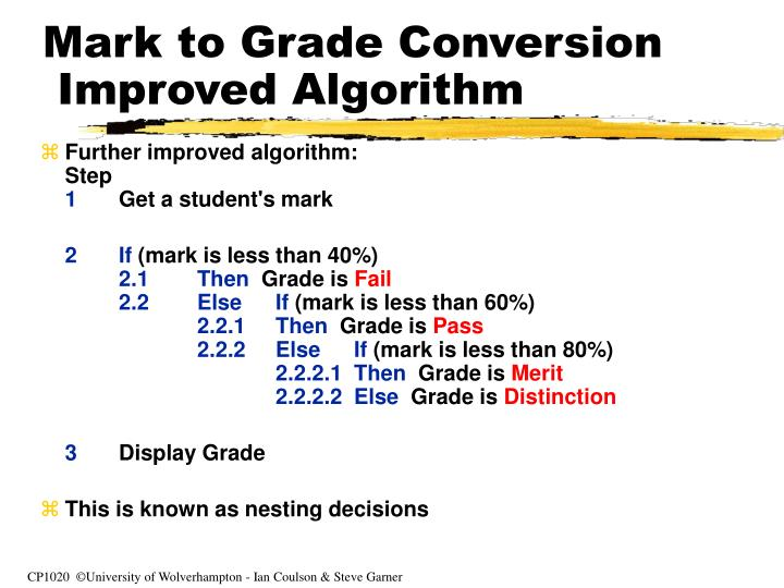 Mark to Grade Conversion