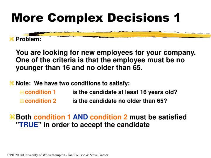 More Complex Decisions 1