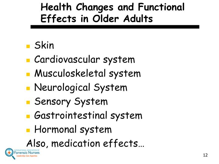 Health Changes and Functional Effects in Older Adults