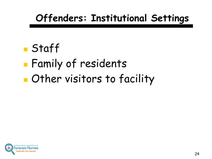 Offenders: Institutional Settings