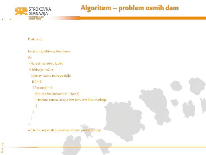 Algoritem – problem osmih dam